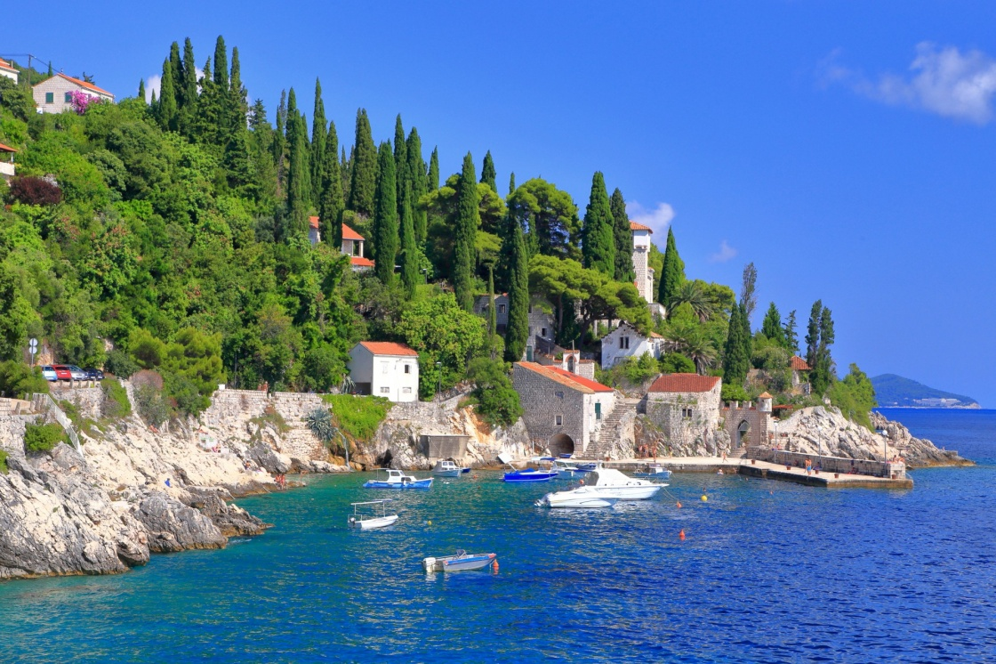 'Small traditional harbor on the Adriatic sea coast, Trsteno, Croatia' - Dubrovnik