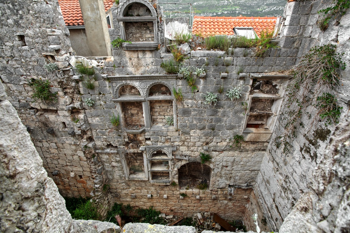 ruins of Marco Polo's house. Korcula. Croatia.