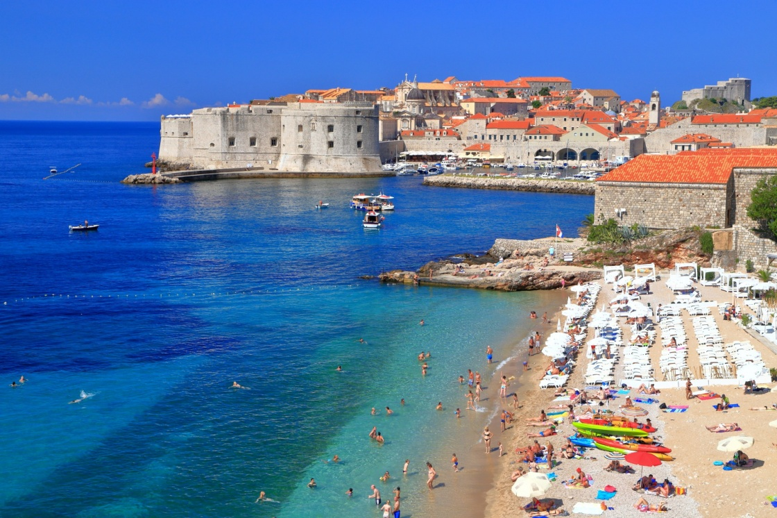 'Sunny beach on Eastern side of the old town of Dubrovnik, Croatia' - Dubrovnik