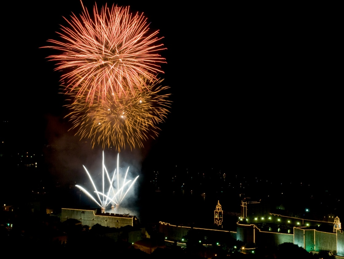 Opening of the Dubrovnik summer festival with big firework. Lot of small and big boats around the city.